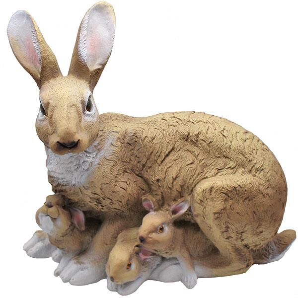 Gartenfigur Hase mit Kindern 34 cm