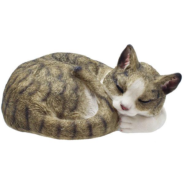 Gartenfigur Katze schlafend braun 13 cm