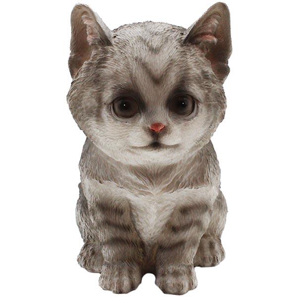 Gartenfigur Katze sitzend grau klein 18 cm