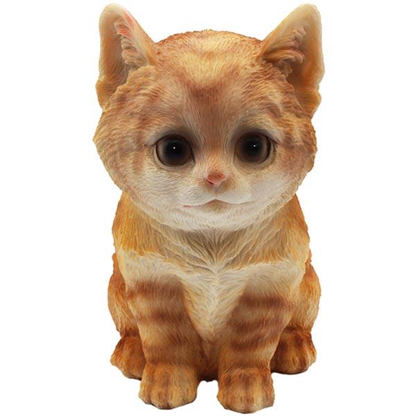 Gartenfigur Katze sitzend rot klein 18 cm