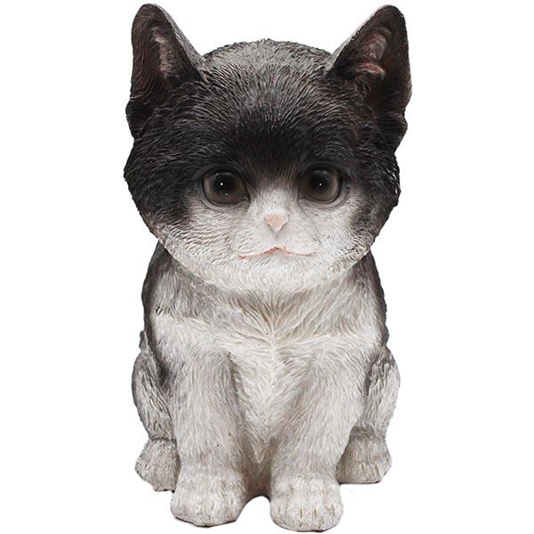 Gartenfigur Katze sitzend schwarz klein 18 cm