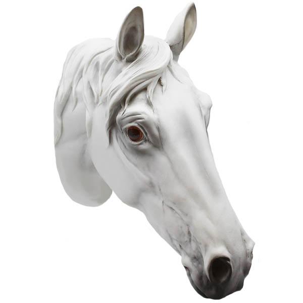 Wandfigur Pferdekopf weiss 29 cm