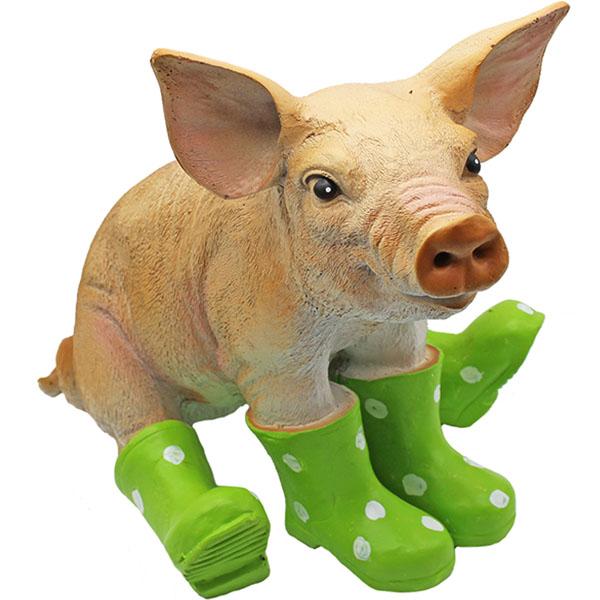 Gartenfigur Schwein grüne Gummistiefel 28 cm