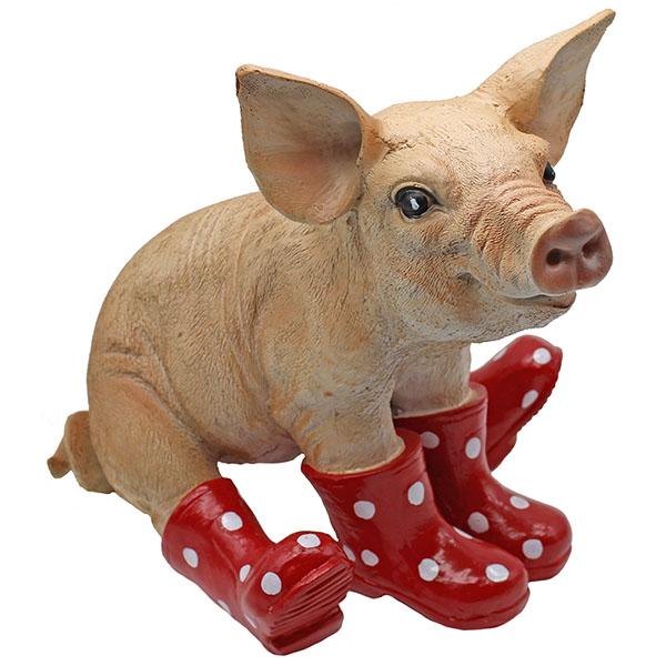 Gartenfigur Schwein rote Gummistiefel 28 cm