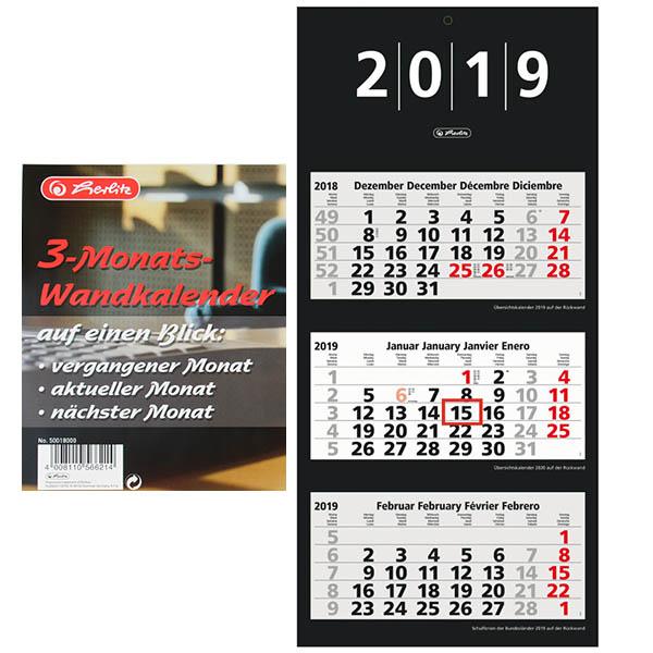 Herlitz 3 Monats Wandkalender 2019