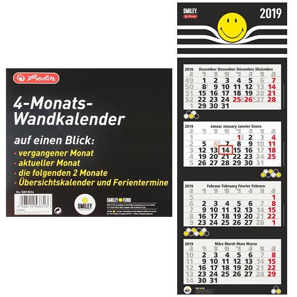 Herlitz 4 Monats Wandkalender 2019 SmileyWorld