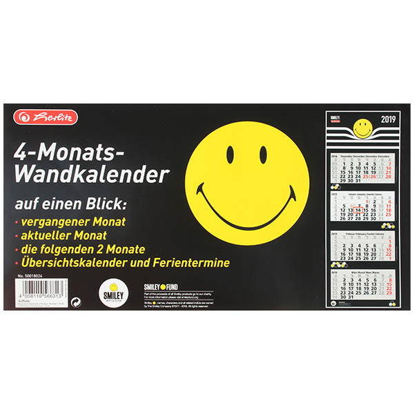 herlitz 4 monats wandkalender 2019 smileyworld. Black Bedroom Furniture Sets. Home Design Ideas