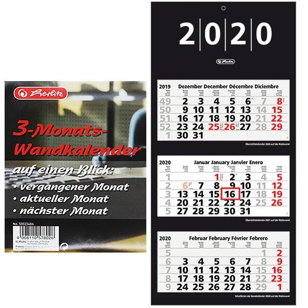 Herlitz 3 Monats Wandkalender 2020