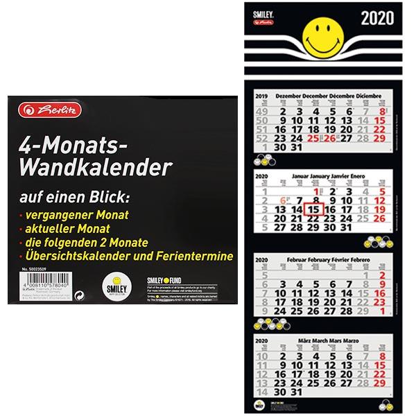 Herlitz 4 Monats Wandkalender 2020 SmileyWorld