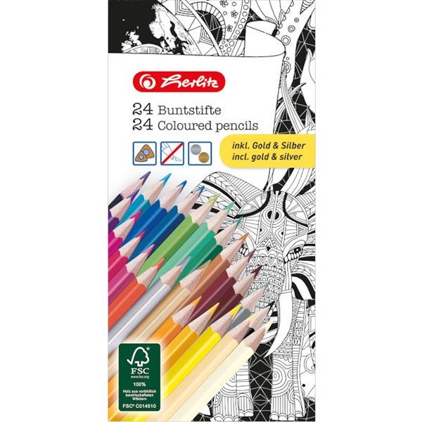 Herlitz Buntstifte 24 Farben 24 Stück lackiert