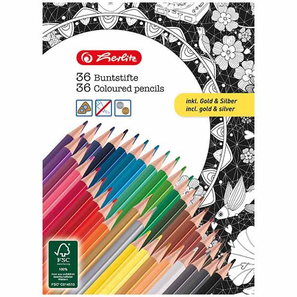 Herlitz Buntstifte 36 Farben 36 Stück lackiert