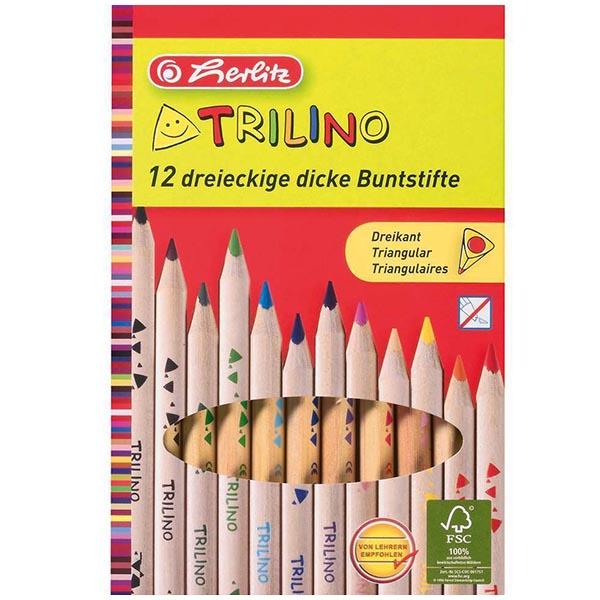 Herlitz Buntstifte Trilino 12 Farben 12 Stück natur