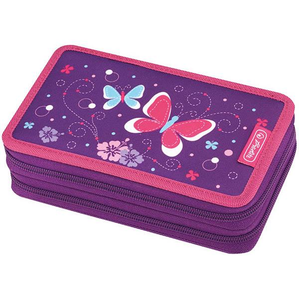 Herlitz Federmappe Doppel Decker Etui Purple Butterfly 23-teilig