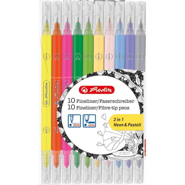 Herlitz Faserschreiber Fineliner Neon Pastell 10 Stück 10 Farben