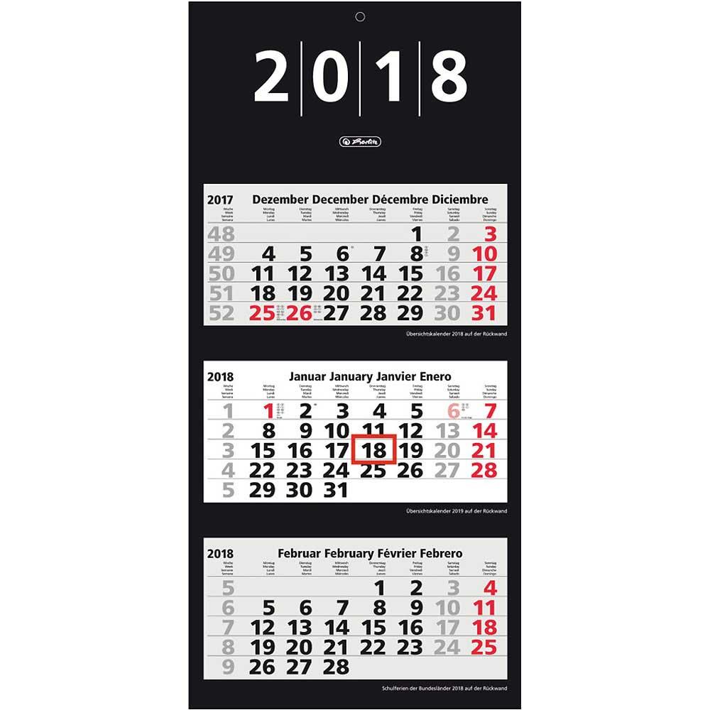 herlitz 3 monats wandkalender dreimonatskalender kalender 2018 schwarz ebay. Black Bedroom Furniture Sets. Home Design Ideas