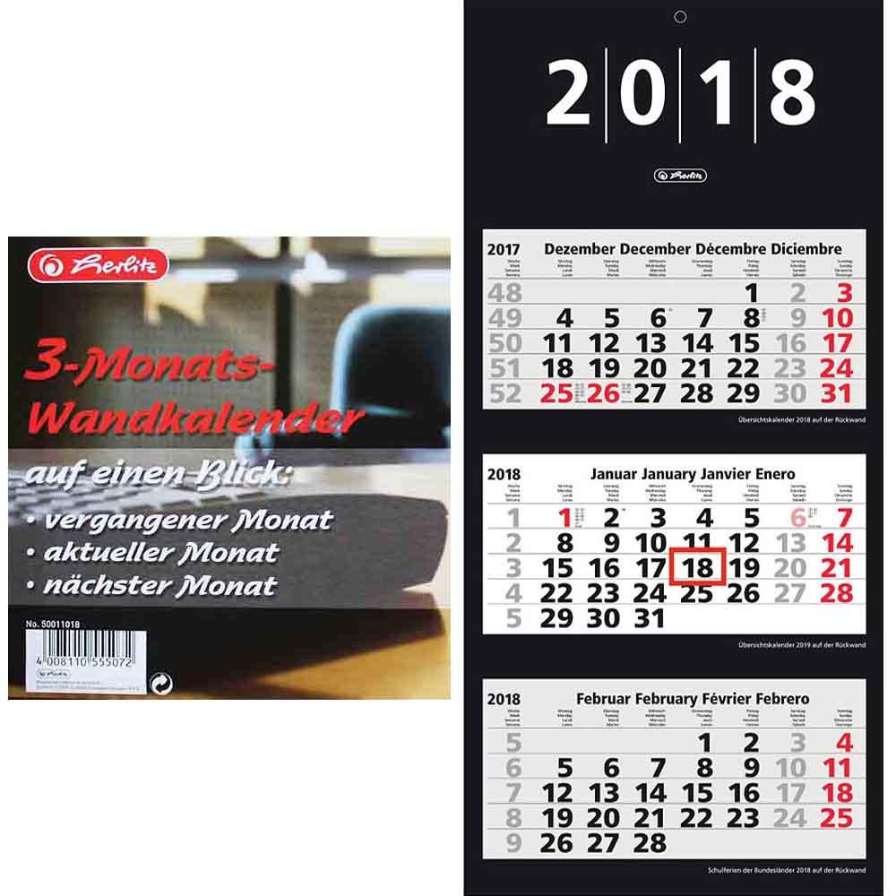 Herlitz 3 Monats Wandkalender 2018