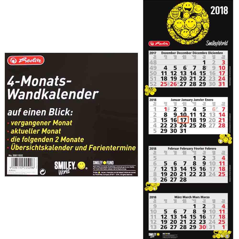 Herlitz 4 Monats Wandkalender 2018 SmileyWorld