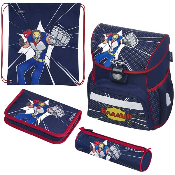 Herlitz Schulranzen Set Loop Plus Comic Hero 4-teilig