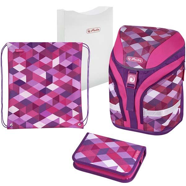 Herlitz Schulrucksack Motion Plus Pink Cubes 4-teilig