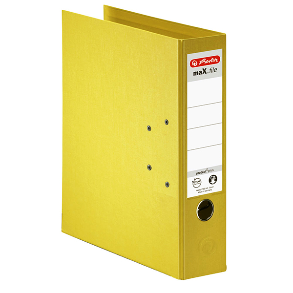 Herlitz Ordner gelb 80 mm DIN A4 maX.file protect plus