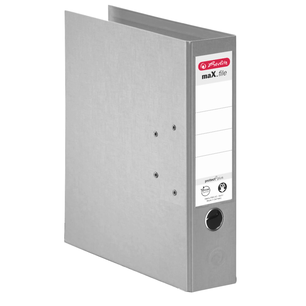 Herlitz Ordner grau 80 mm DIN A4 maX.file protect plus