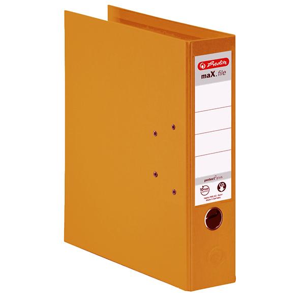 Herlitz Ordner orange 80 mm DIN A4 maX.file protect plus