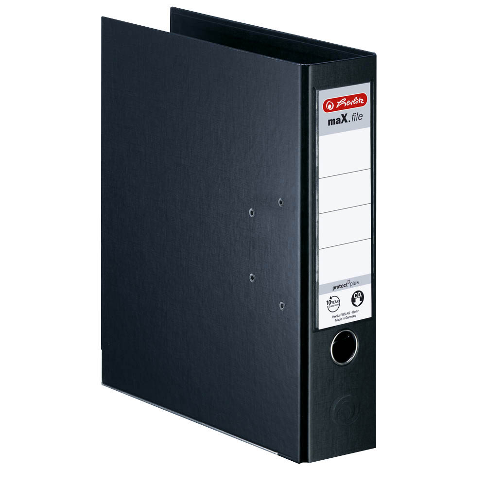 Herlitz Ordner schwarz 80 mm DIN A4 maX.file protect plus