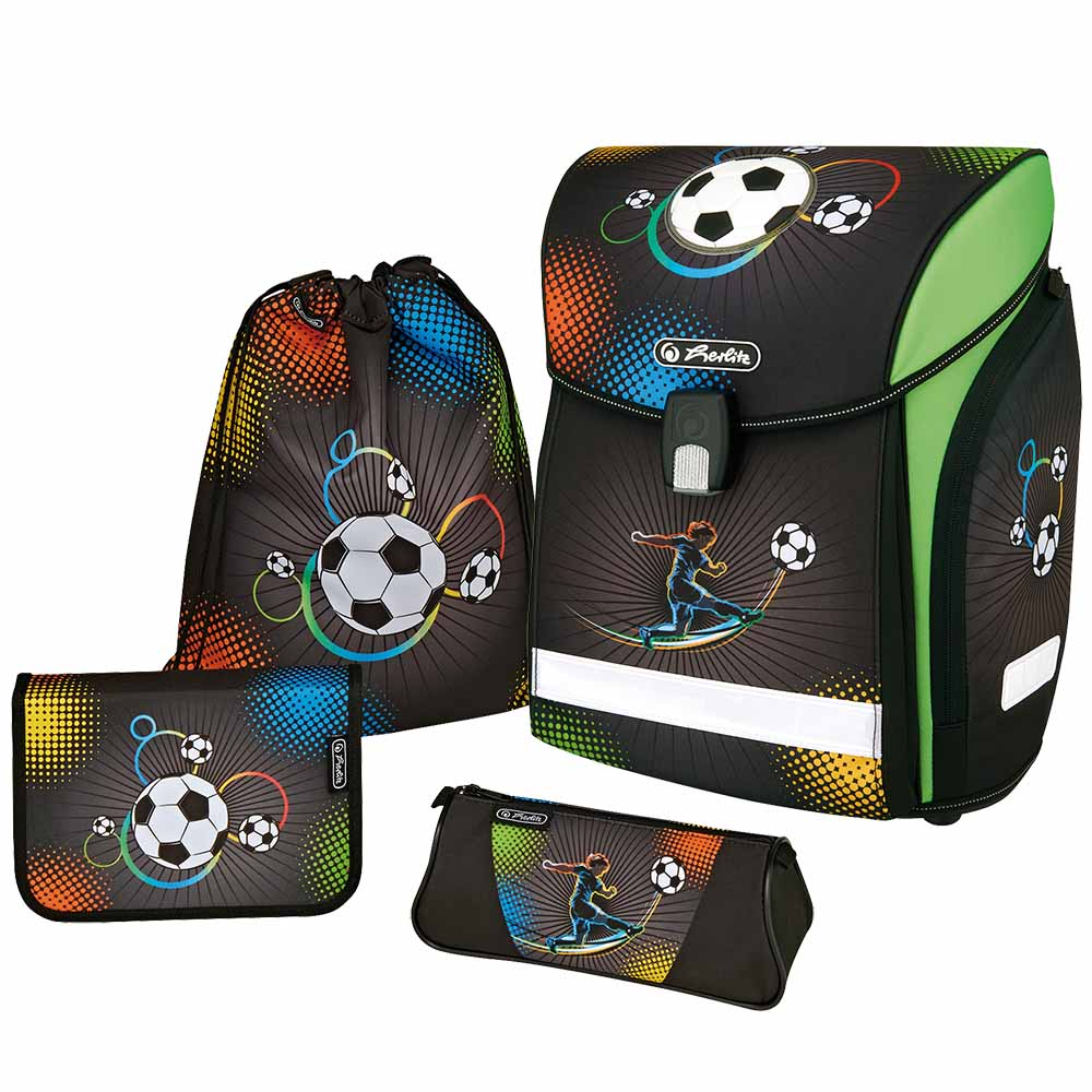 herlitz schulranzen midi plus soccer ranzen fussball fussballspieler 4er set ebay. Black Bedroom Furniture Sets. Home Design Ideas