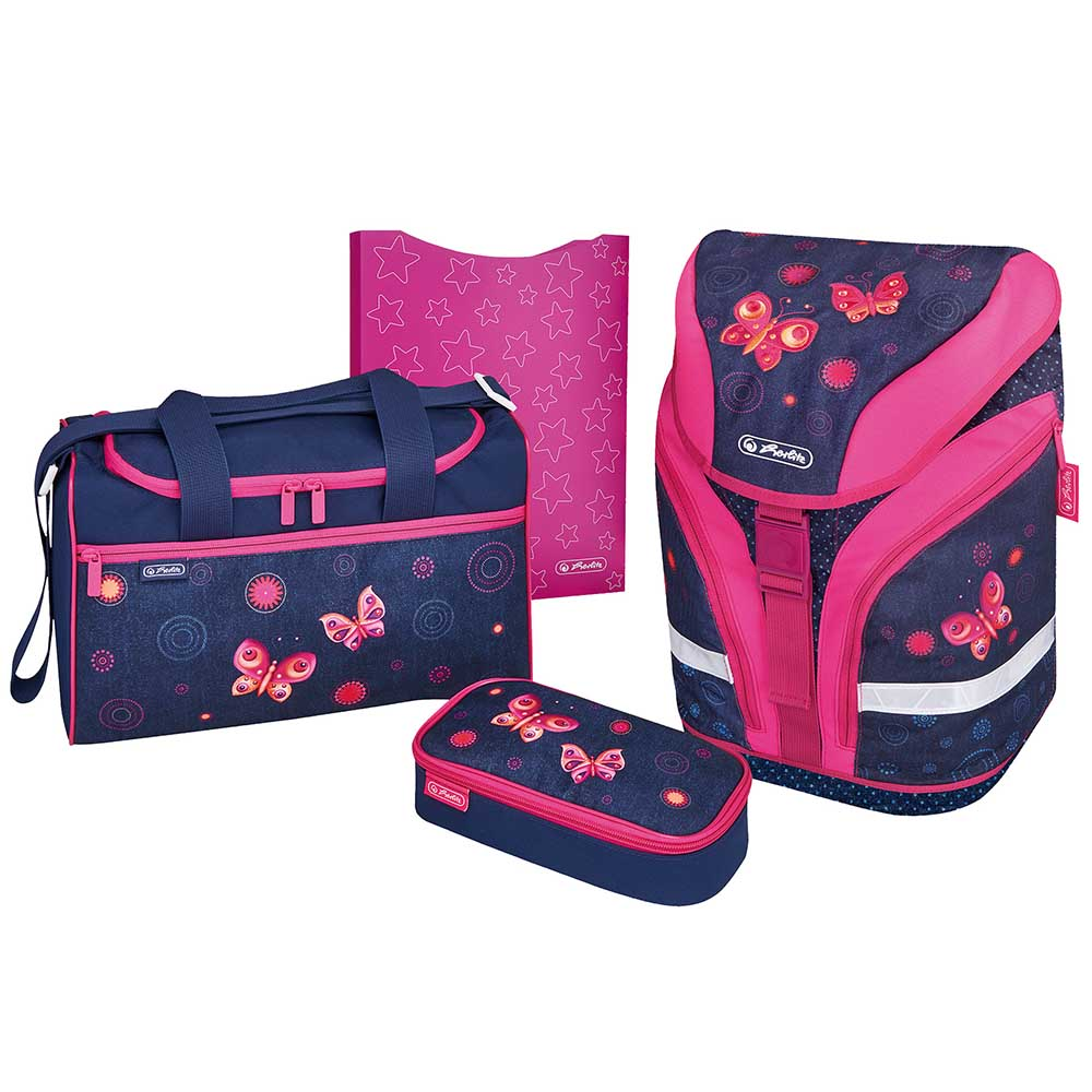 Herlitz Schulrucksack Motion Plus Butterfly Dream 4er-Set