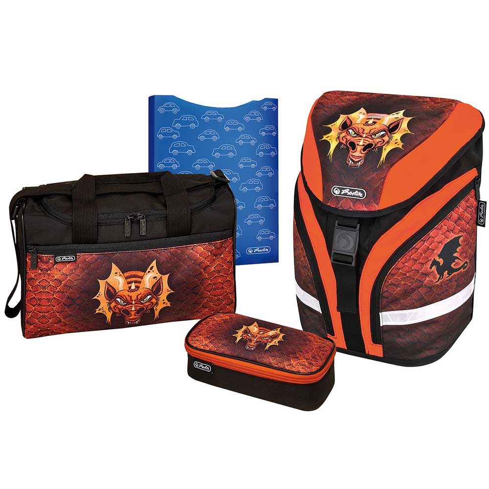 Herlitz Schulrucksack Motion Plus Dragon 4er-Set