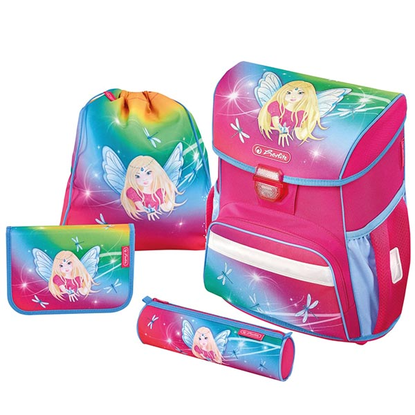 Herlitz Schulranzen Loop Plus Rainbow Fairy 4er-Set