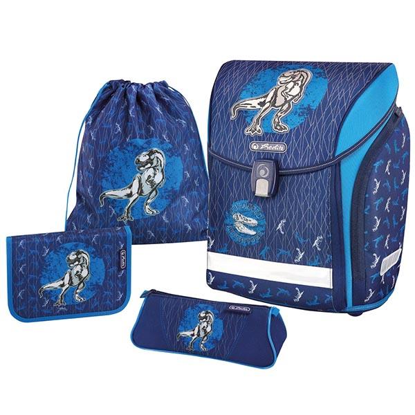 Herlitz Schulranzen Midi Plus Blue Dino 4er-Set