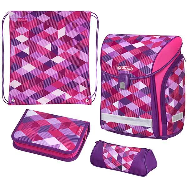 Herlitz Schulranzen Midi Plus Pink Cubes 4er-Set
