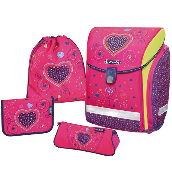 Herlitz Schulranzen Midi Plus Pink Hearts 4er-Set