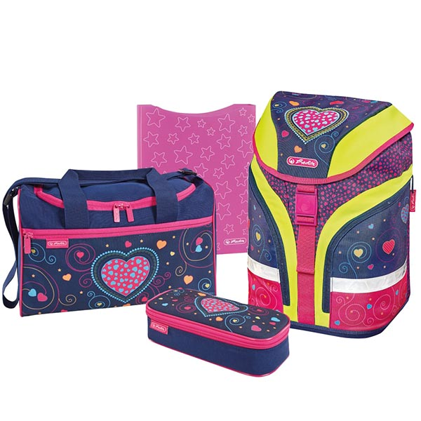 Herlitz Schulrucksack Motion Plus Hearts 4er-Set
