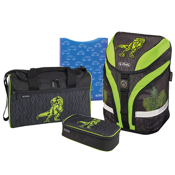Herlitz Schulrucksack Motion Plus Green Dino 4er-Set