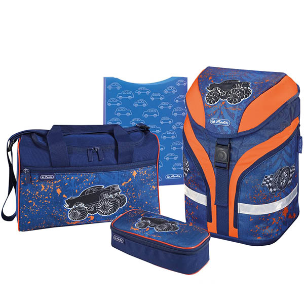 Herlitz Schulrucksack Motion Plus Monster Truck 4er-Set