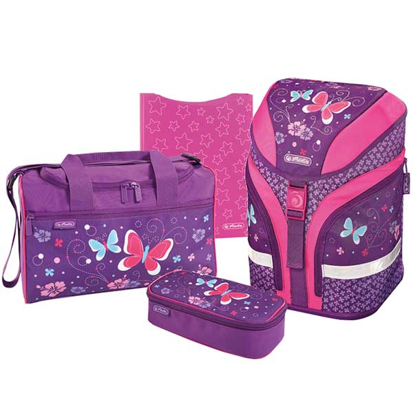 Herlitz Schulrucksack Motion Plus Purple Butterfly 4er-Set