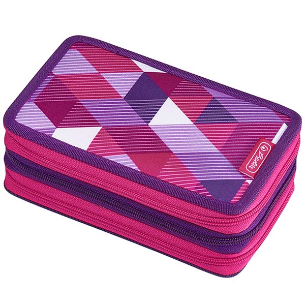Herlitz Federmappe Triple Decker Etui Pink Cubes 31-teilig