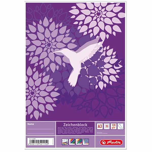 Herlitz Zeichenblock Kolibri DIN A3 120 g/qm 20 Blatt