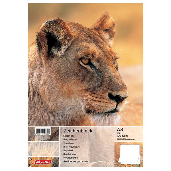 Herlitz Zeichenblock Löwe DIN A3 100 g/qm 25 Blatt