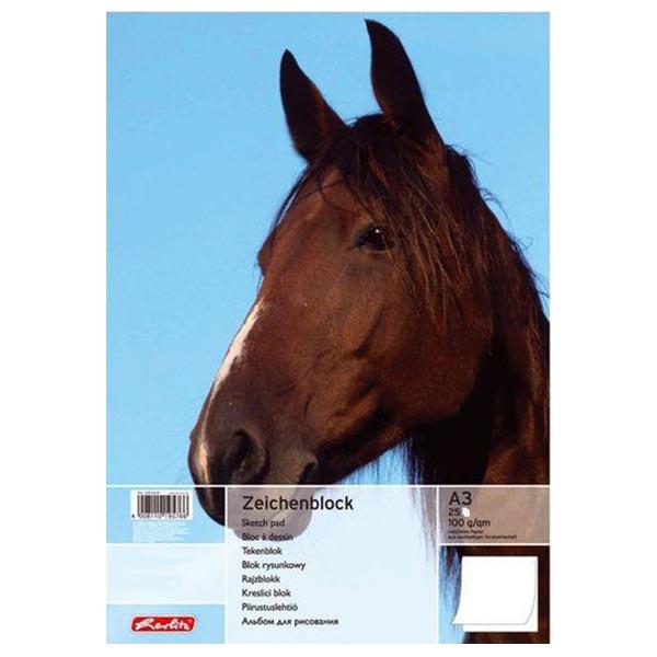 Herlitz Zeichenblock Pferd DIN A3 100 g/qm 25 Blatt