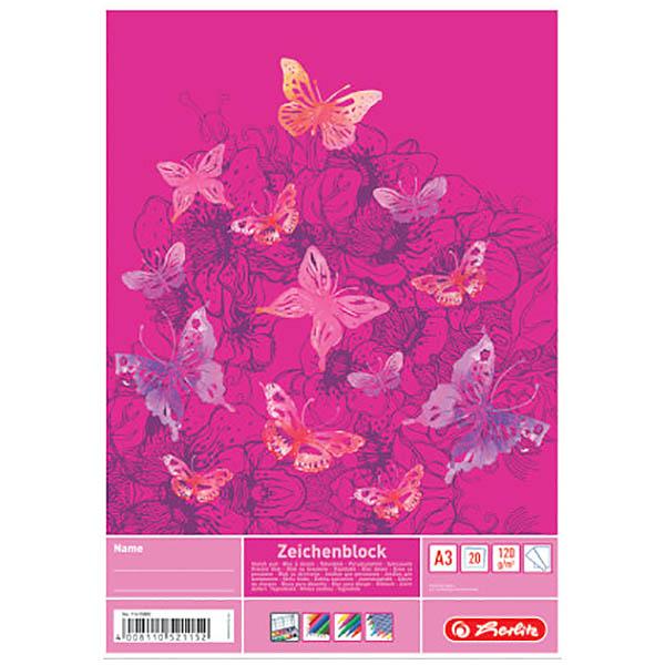 Herlitz Zeichenblock Schmetterlinge DIN A3 120 g/qm 20 Blatt