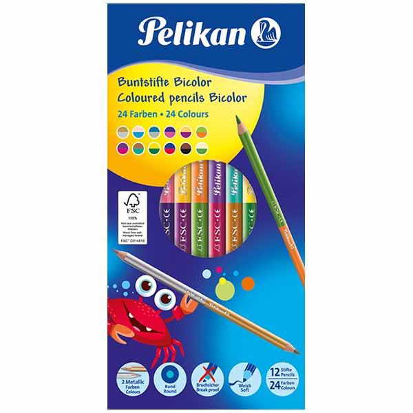 Pelikan Buntstifte Bicolor 24 Farben 12 Stück lackiert