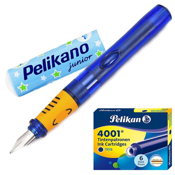 Pelikan Pelikano Füller Junior P67A blau Fahrzeuge 2er-Set