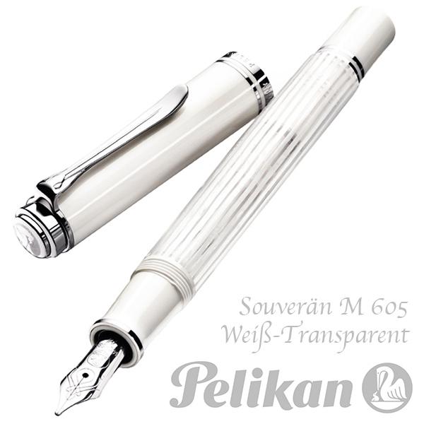 Pelikan Souverän M605 Füllhalter weiß transparent