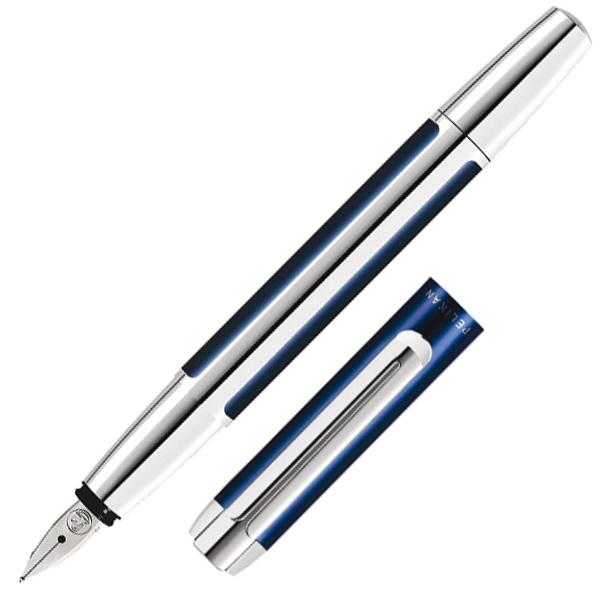 Pelikan Pura P40 Feder M Füllhalter blau silber