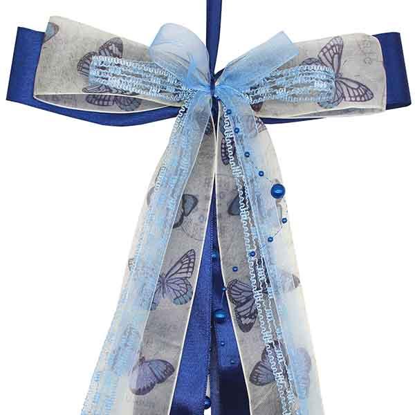 Schultüten Schleife Butterfly Perlen dunkelblau 50 cm