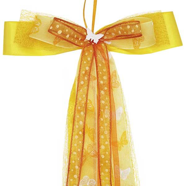 Schultüten Schleife Butterfly gelb 50 cm
