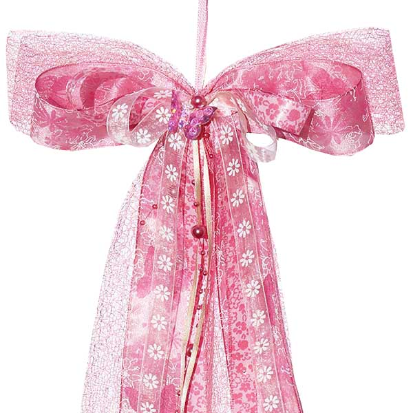 Schultüten Schleife Butterfly Blumen Perlen rosa 50 cm